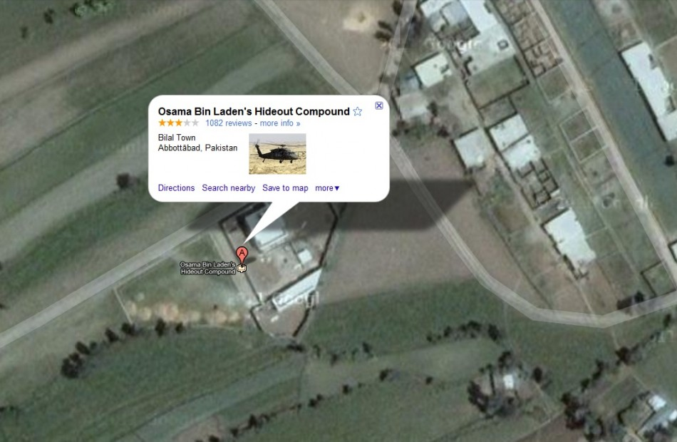 Osama's Compound as shown on Google Maps on